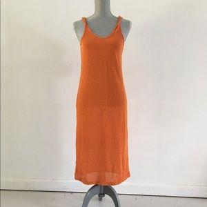Orange Knit Mango Midi Shift Dress